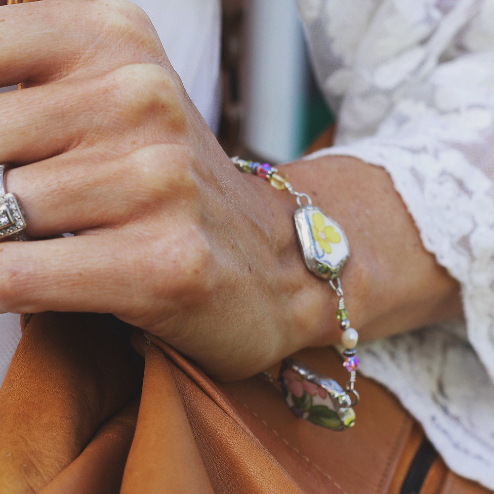 upcycled bracelet with broken china