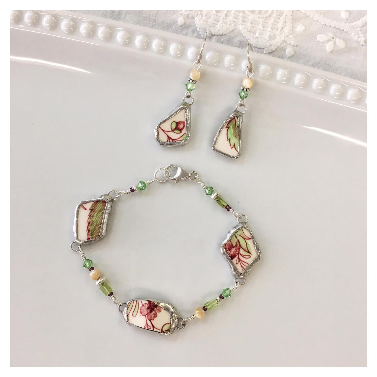 Broken china bracelet and earring se