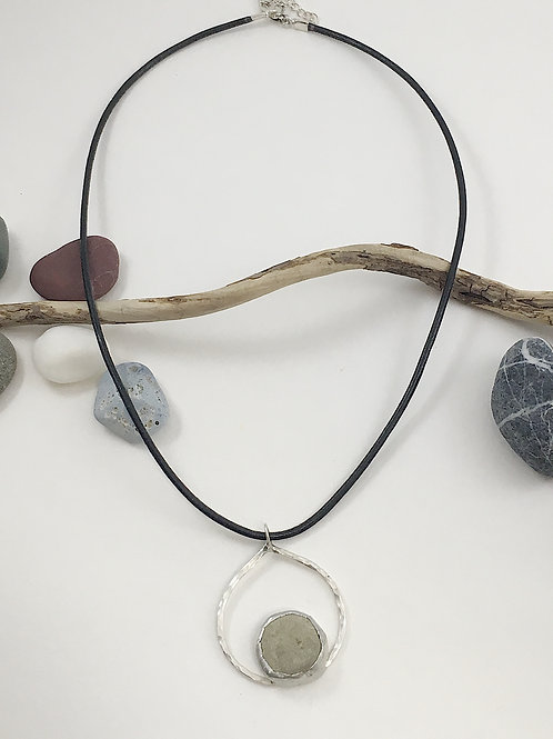 geometric pendant, pebble jewelry, pebble pendant, natural stone necklace, nature jewelry, handmade jewelry