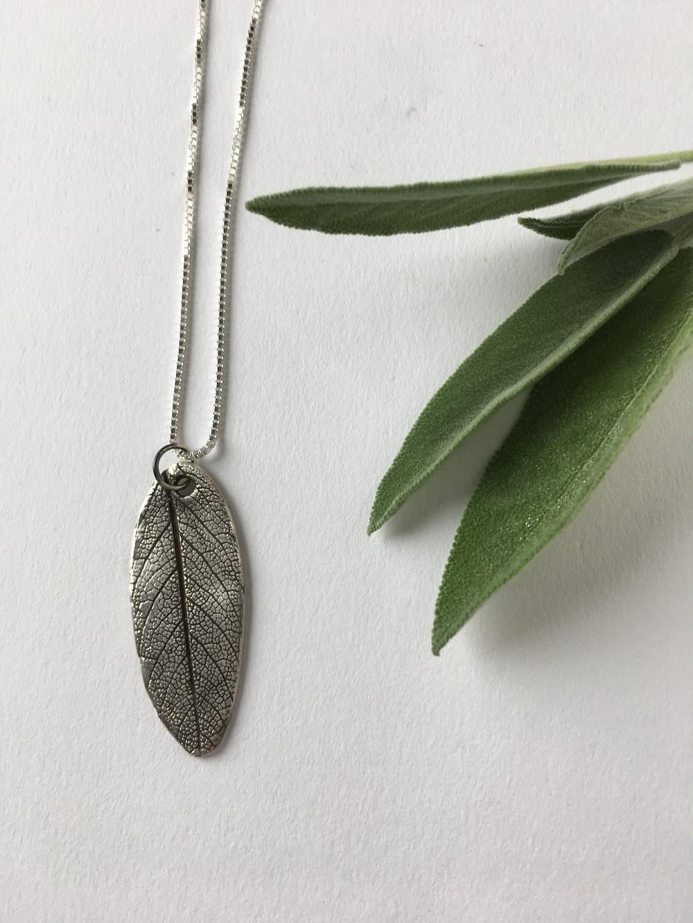 nature jewelry, PMC pendant, leaf pendant