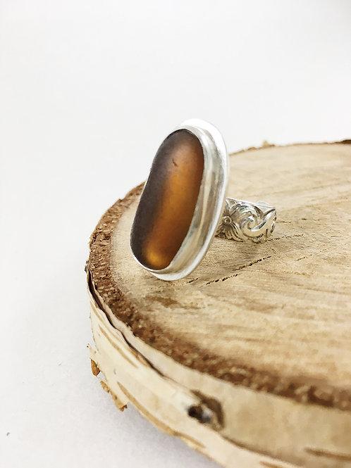 amber sea glass ring adjustable, sea glass jewelry, sea glass jewellery, bespoke jewelry, handcrafted silver ring