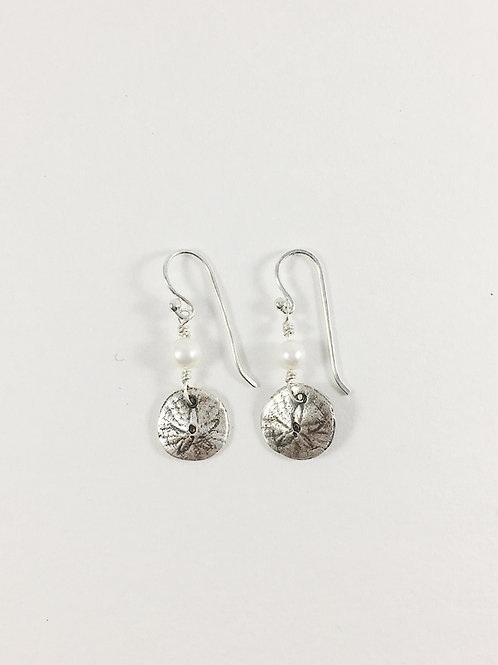 Pacific sand dollar earrings, silver sand dollar earrings, handmde beach earrings, mermaid jewelry, silver shell earrings,