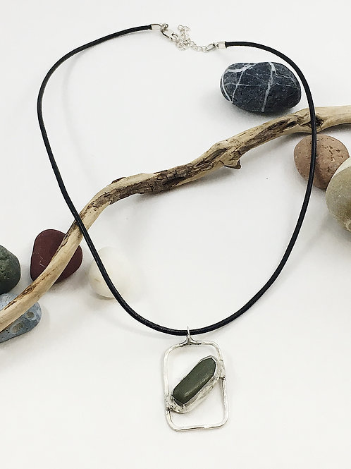 Green pebble pendant, stone pendant, beach pebble jewelry, handmade silver jewelry, minimalist jewelry, natural jewelry