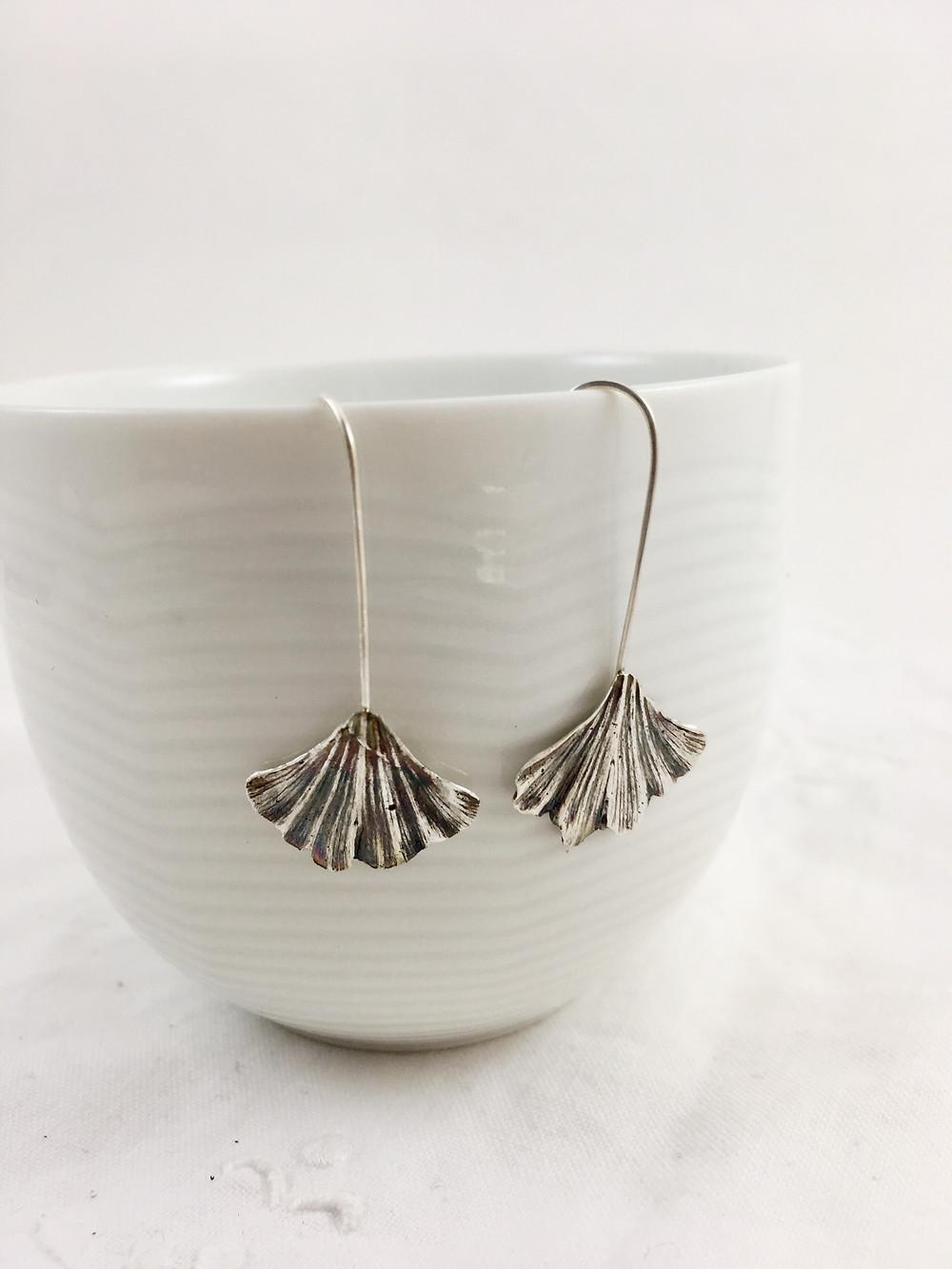 gingko leaf earrings botanical jewelry PMC jewelry nature jewelry
