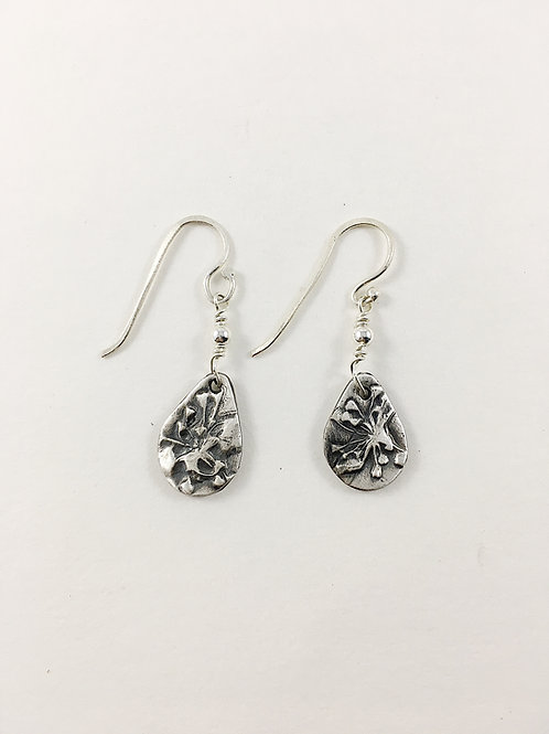 fine silver abstract flower earrings, botanical jewelry, nature jewelry, nature earrings, silver jewelry, PMC jewelry
