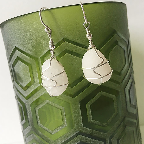 White beach Pebble and Sterling Silver Earrings
