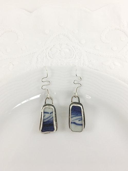 Ming China earrings, broken china jewelry, handmade jewelry, silver jewelry, silver earrings, upcycled earrings