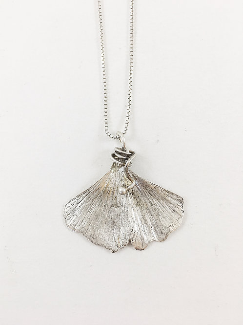 fine silver ginkgo leaf pendant, nature jewelry, botanical jewelry, silver leaf pendant, ginkgo necklace, PMC jewelry