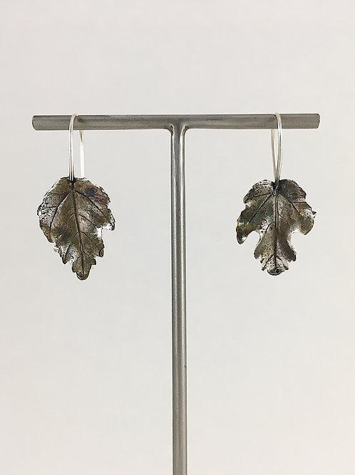 maple leaf earrings, silver leaf earrings, silver leaf jewelry, nature earrings, nature jewelry jewellery, boho earrings