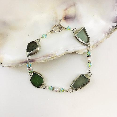 Sea glass jewelry, authentic sea glass bracelet, Mermaids tears jewelry, mermaid jewelry, Boho jewelry, upcycled bracelet