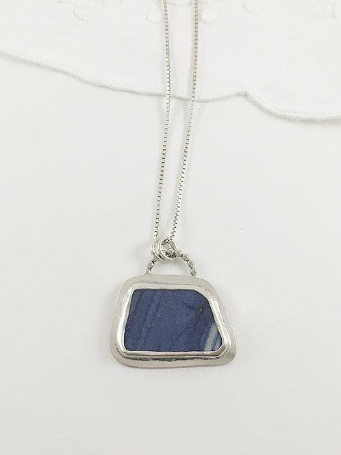 Ming china pendant, broken china jewelry, broken china necklace, artifact jewelry, art jewelry, handmade silver jewelry,