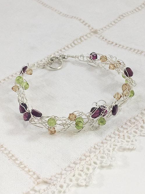 Garnet, peridot and sterling silver bracelet, gemstone bracelet, sterling silver bracelet, handmade bracelet, crochet wire
