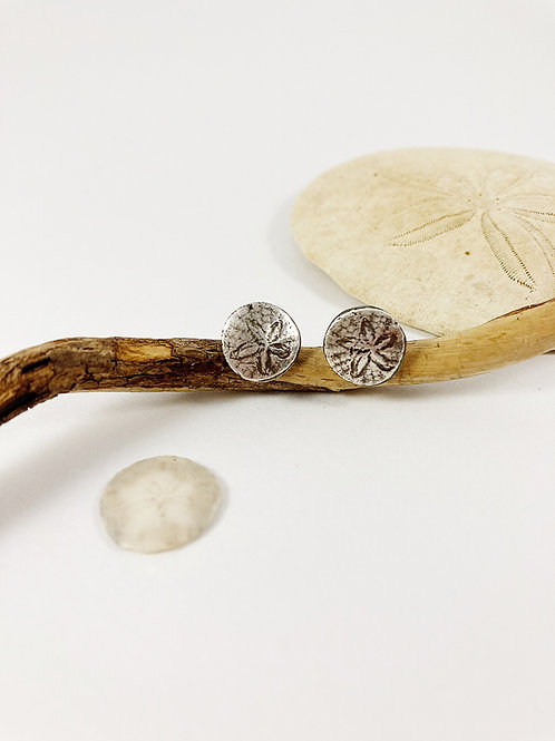 Pacific Sand dollar silver stud earrings, silver shell earrings, nature jewelry, beach jewelry, mermaid jewelry, PMC jewelry