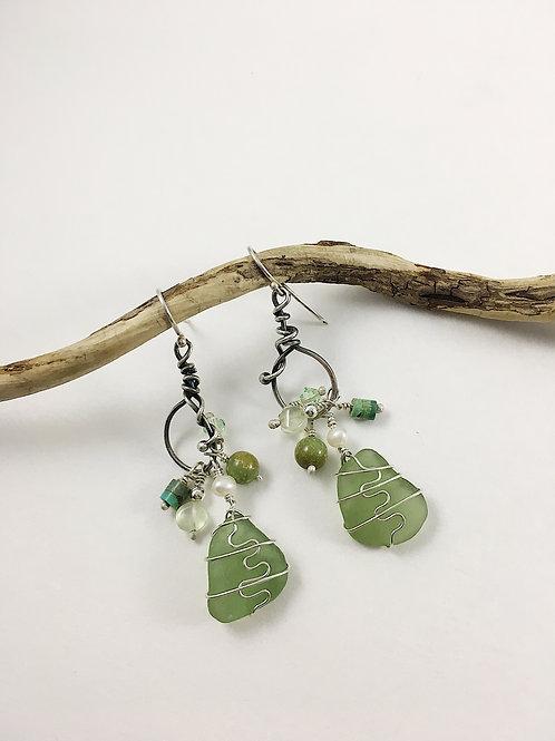 sea glass earrings, sea glass jewelry jewellery, silver sea glass jewelry, boho earrings, boho jewelry, mermaid earrings