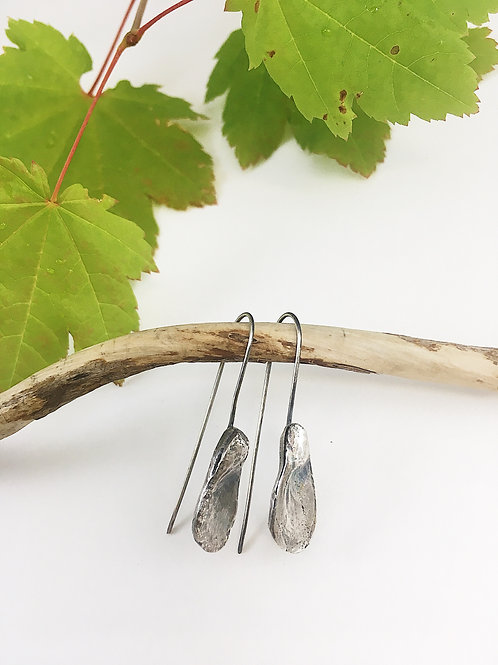 nature jewelry, nature jewellery, silver earrings, handmade earrings, seed pod earrings, silver jewelry