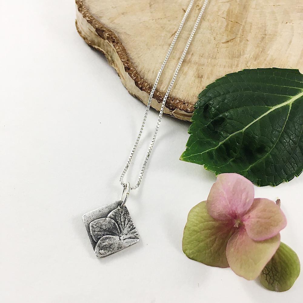 Hydrangea flower mini pendant, silver flower necklace, nature jewelry