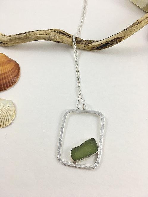 light olive glass pendant, geometric jewelry, handmade jewelry, sea glass necklace pendant jewelry, sea glass jewellery