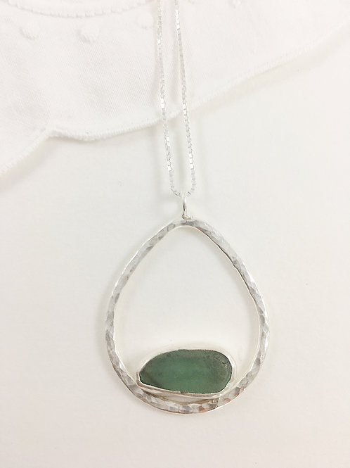 teal and sterling sea glass pendant, silver sea glass jewelry, sea glass jewellery, bespoke jewelry, bespoke pendant