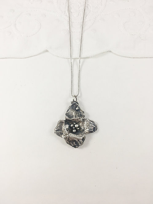 silver dogwood flower pendant, nature necklace, nature jewelry, flower jewelry necklace, nature inspired jewelry, PMC jewelry