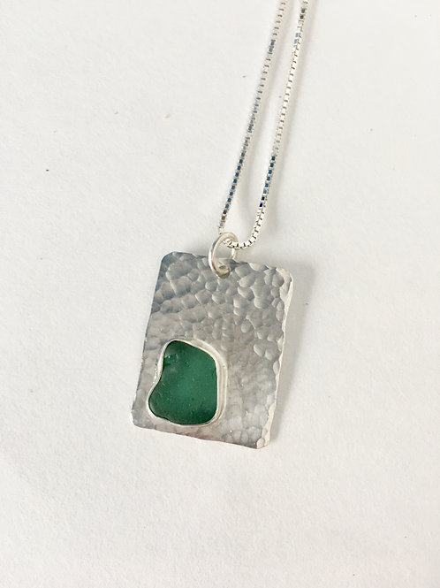 minimalist geometric jewelry, sea glass pendant necklace jewelry, teal sea glass pendant, handmade silver jewelry