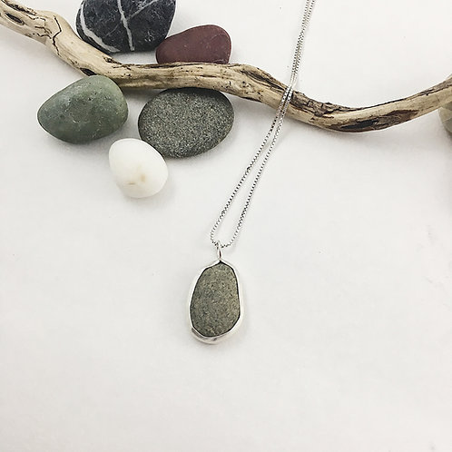 beach pebble jewelry, pebble necklace, handmade silver jewerly, natural jewelry, natural pebble jewelry, silver necklace