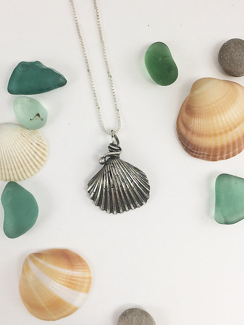 handmade jewelry, ocean jewelry, shell pendant, shell necklace, silver shell pendant
