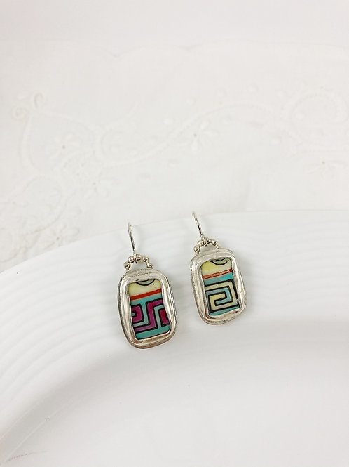 Broken china earrings, broken china jewelry, handmade silver earrings, bespoke silver jewelry, upcycled jewelry
