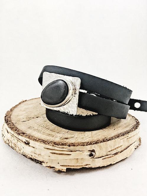 black pebble cuff bracelet,leather jewelry silver jewelry, silver jewelry, unisex jewelry, minimalist jewelry, nature jewelry