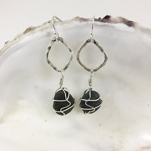 Handmade Sterling Silver and Dark Gray Beach Pebble Earrings