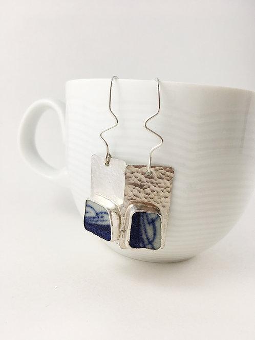 ming china earrings, broken china jewelry jewelry, upcycl;ed jewelry, handmade silver jewelry, bespoke earrings, china earrin