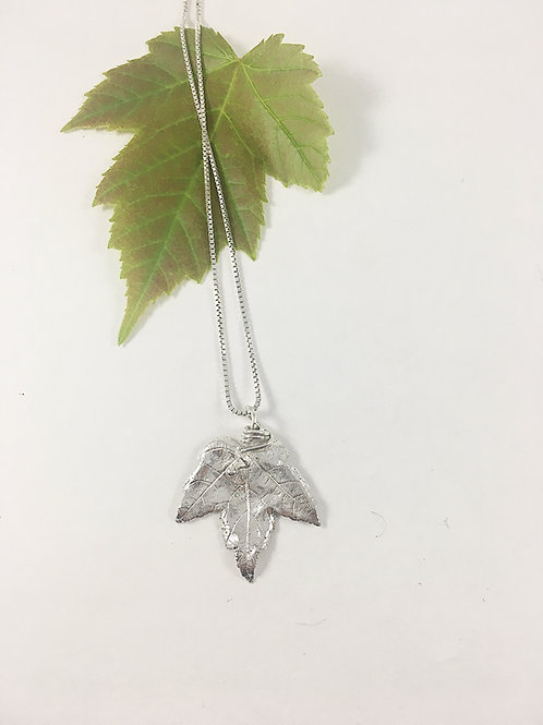 fine silver maple leaf pendant, nature inspired jewelry, nature jewelry, leaf jewelry