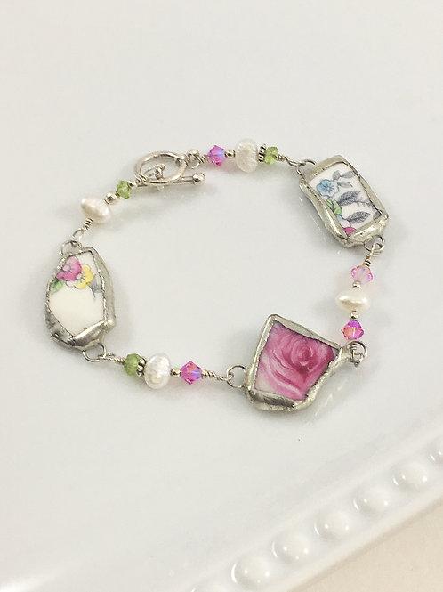 boho style jewelry, eco friendly jewelry, boho bracelet, handmade sterling jewelry, wire wrapped bracelet, vintage china
