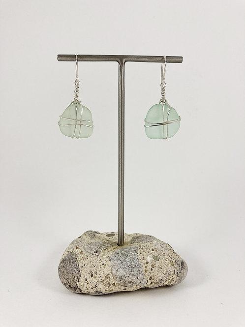 seafoam green sea glass earrings, wire wrapped earrings, drop earrings, dangle earrings, handmade earrings,