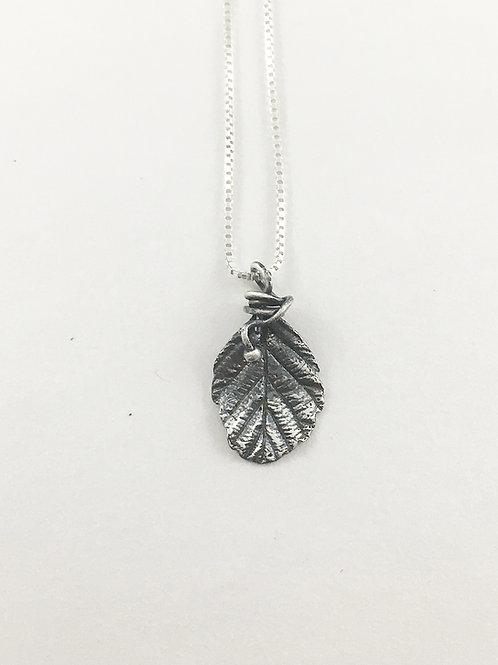 fine silver mini alder leaf pendant, nature necklace, nature jewelry, leaf jewelry necklace, silver jewelry, PMC jewelry