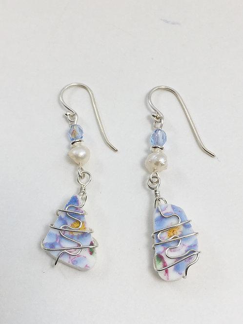 vintage wedding earrings, broken china earrings, broken china jewelry, drop earrings, dangle earrings, pearl earrings