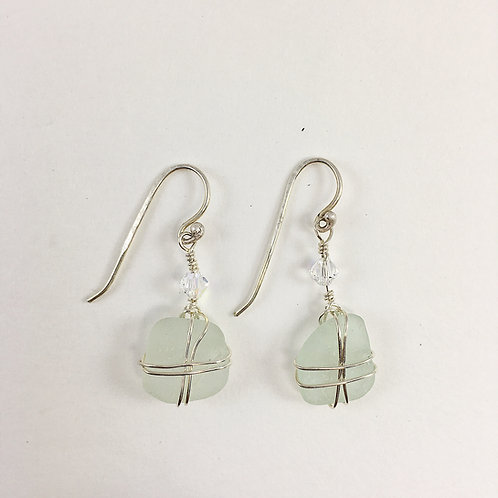 Handmade White Sea Glass and Sterling Silver Wire Earrings