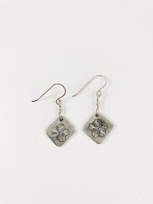 silver forget me not drop earrings, PMC jewelry, botanical jewelry, flower stud earrings, silver jewelry, nature jewellery