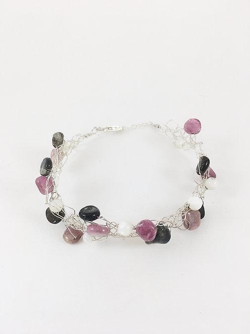 silver gemstone and pearl bracelet, crochet wire bracelet, sterling silver bracelet, handmade silver jewelry, gemstone jewelr