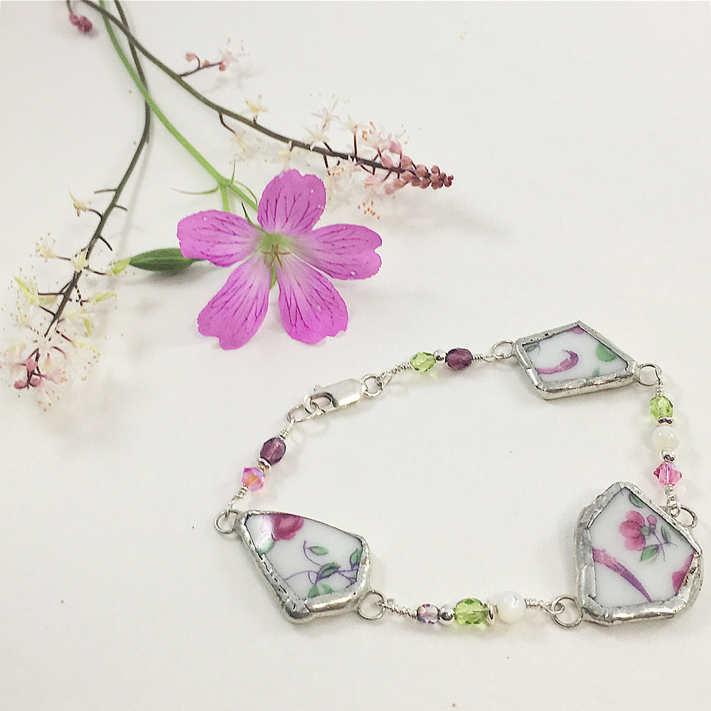 broken china jewelry, broken china bracelet, vintage china