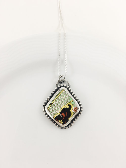 broken china pendant, broken china jewelry, broken china necklace, artifact jewelry, Art Deco jewelry, handmade jewelry,