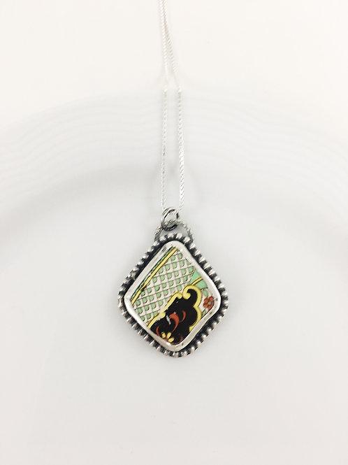 broken china pendant, broken china jewelry, broken china necklace, artifact jewelry, Art Deco jewelry, handmade jewelry,