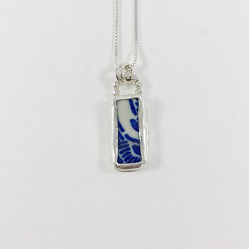 reversible broken china pendant, upcycled jewelry, broken china jewelry, handmade silver jewelry, Olympia jewelry artist