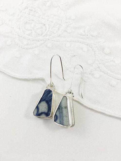 Ming china earrings, broken china jewelry, handmade silver earrings, bespoke silver jewelry, upcycled jewelry, Ming china