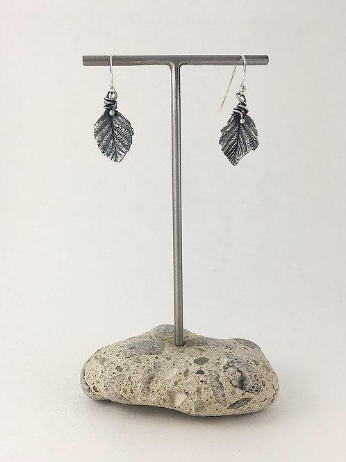 fine silver leaf jewelry, leaf earrings, nature jewelry, precious metal clay jewelry, PMC jewelry, handmade earrings