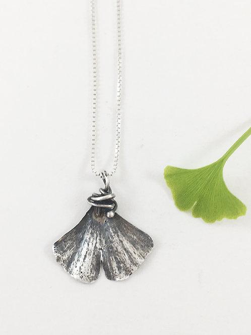 fine silver ginkgo leaf pendant, nature jewelry, botanical jewelry, silver leaf pendant, ginkgo necklace, PMC jewelry