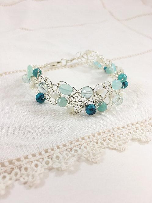 sterling silver bracelet, gemstone bracelet, turquoise jewelry, lacy jewelry, handmade bracelet, sterling silver jewelry