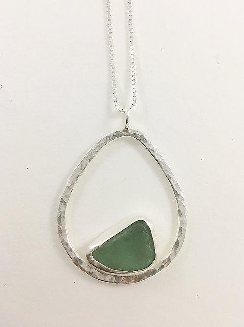 aqua sea glass and sterling pendant, silver sea glass jewelry, sea glass jewellery, bespoke jewelry, bespoke pendant