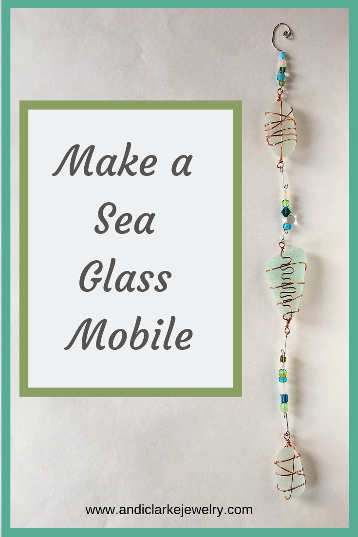 DIY sea glass mobile, making a sea glass mobile.