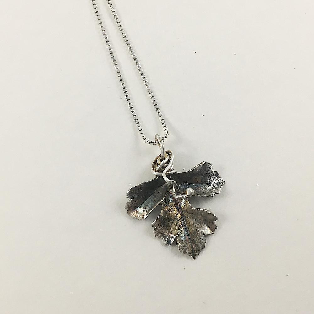 Hawthorne leaf pendant, PMC jewelry, precious metal clay jewelry, silver leaf pendant, botanical jewelry