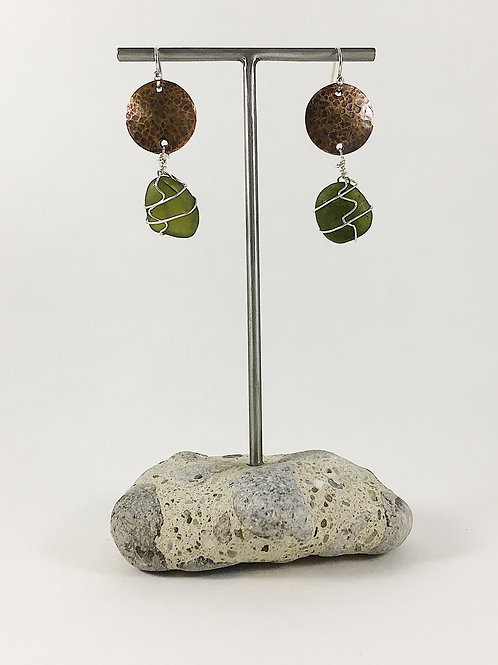 dark olive green sea glass earrings, sea glass jewelry, wire wrapped sea glass earrings, silver and sea glass jewelry